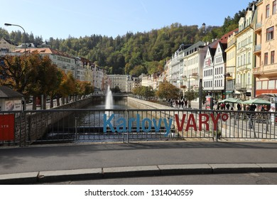 CZECH REPUBLIC, KARLOVY VARY, DIVADELNI NAM. - OCTOBER 04, 2018: The letters on the railing indicate the name of the spa town.