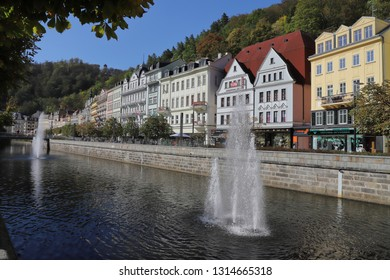 CZECH REPUBLIC, KARLOVY VARY, DIVADELNI NAM. - OCTOBER 04, 2018: View across the Tepla river to some buildings of Stara Louka.