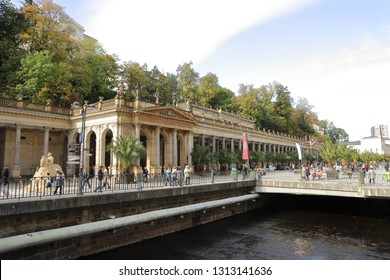 CZECH REPUBLIC, KARLOVY VARY, MLYNSKE NABR., OCTOBER 04, 2018: The Mill Colonnade in the spa centre of Karlovy Vary is built in Pseudo-Renaissance style