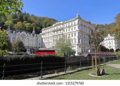 CZECH REPUBLIC, KARLOVY VARY - OCTOBER 04, 2018: The world-renowned Grandhotel Pupp in Carlsbad