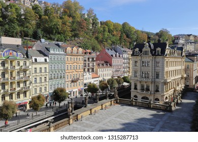 CZECH REPUBLIC, KARLOVY VARY - OCTOBER 04, 2018: Beautiful buildings in Karlovy Vary