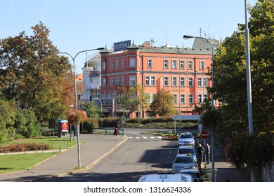 CZECH REPUBLIC, KARLOVY VARY - OCTOBER 05, 2018: View to the building where the liqueur Becherovka was produced for a long time