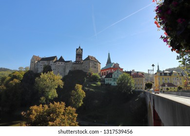 CZECH REPUBLIC, KARLOVY VARY REGION, SOKOLOV DISTRICT, LOKET - OCTOBER 05, 2018: Castle of Loket seen from the T. G. Masaryka bridge.