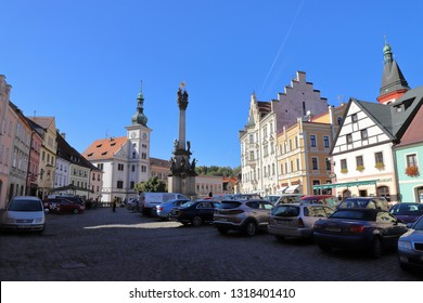 CZECH REPUBLIC, KARLOVY VARY REGION, SOKOLOV DISTRICT, LOKET - OCTOBER 05, 2018: Market Place of Loket.