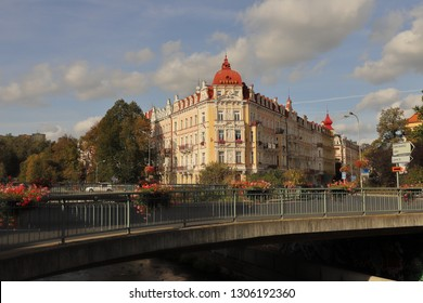 CZECH REPUBLIC, KARLOVY VARY, ROUNDABOUT CONNECTION HOROVA, BEZRUCOVA AND VITEZNA - OCTOBER 03, 2018: Beautiful apartment building with ornaments in the city center of Karlovy Vary