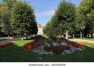 CZECH REPUBLIC, KARLOVY VARY, SMETANOVY SADY - OCTOBER 04, 2018: The plant bed in the Smetana Park in Karlovy Vary shows the current date daily.