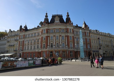 CZECH REPUBLIC, KARLOVY VARY, T. G. MASARYKA - OCTOBER 04, 2018: Main post office in Karlovy Vary.