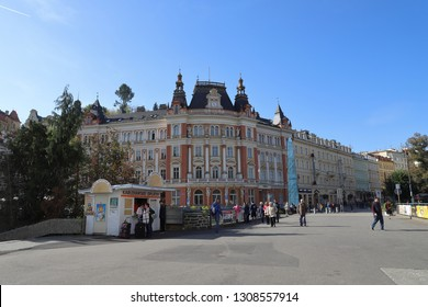 CZECH REPUBLIC, KARLOVY VARY, T. G. MASARYKA - OCTOBER 04, 2018: Row of houses with the building of the main post office in Karlovy Vary.