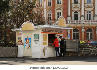 CZECH REPUBLIC, KARLOVY VARY, T. G. MASARYKA - OCTOBER 04, 2018: Street sale of the original Karlovarske Oplatky