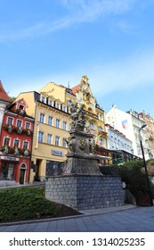 CZECH REPUBLIC, KARLOVY VARY, TRZISTE, OCTOBER 04, 2018: Holy Trinity Column in Karlovy Vary