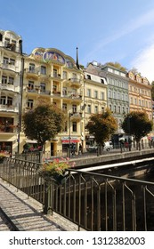 CZECH REPUBLIC, KARLOVY VARY, VRIDELNI , OCTOBER 04, 2018: Colourful buildings in the centre of Karlovy Vary beside the river Tepla