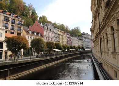 CZECH REPUBLIC, KARLOVY VARY, VRIDELNI , OCTOBER 04, 2018: The river Tepla in the city centre of Karlovy Vary