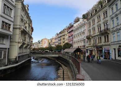 CZECH REPUBLIC, KARLOVY VARY, VRIDELNI , OCTOBER 04, 2018: Pedestrian zone 'Vridelni' and river Tepla in the city centre of Karlovy Vary