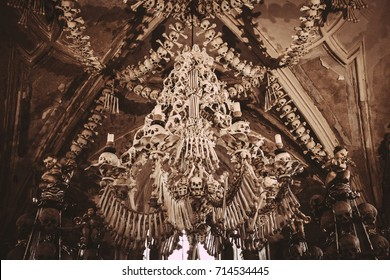 CZECH REPUBLIC (Kutna Hora) August 27 - 2017: The Sedlec Ossuary  is a small Roman Catholic chapel, located beneath the Cemetery Church  of All Saints , part of the former Sedlec Abbey in Sedlec.