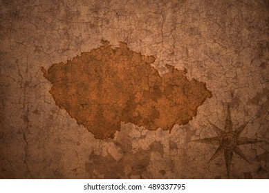 czech republic map on a old vintage crack paper background