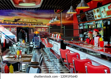 VYSOKÉ MÝTO, CZECH REPUBLIC - MARCH 3, 2017: Pictures of the retro american burger restaurant BBQ Smokehouse in the czech city.