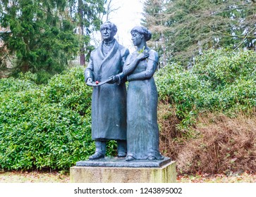 Czech Republic, Marianske Lazne, January 31, 2018: Goethe and Levetzow Monument. Spa town Marianske Lazne (Marienbad) - Czech Republic
