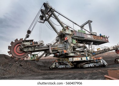 CZECH REPUBLIC, MOST - SEPTEMBER 23, 2015: Giant bucket wheel excavator, coal mine