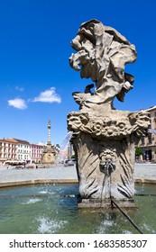 CZECH REPUBLIC, OLOMOUC -  JUL 3, 2019: Jupiter fountain, 1707, sculptor Filip Satter, Vaclav Render, Lower square, Olomouc town, Moravia, Czech republic