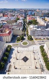 CZECH REPUBLIC, OSTRAVA - AUG 13, 2018: view from townhall tower, Ostrava city, North Moravia, Czech republic