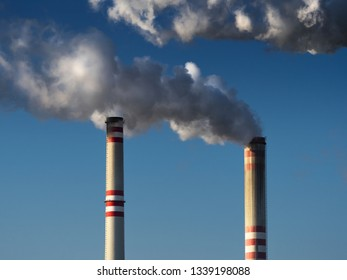 CZECH REPUBLIC, Pocerady, February  28, 2019: chimneys  of coal fired power station, Pocerady, Czech republic