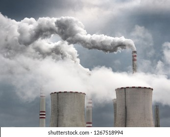 CZECH REPUBLIC, Pocerady, November  13, 2017: chimneys  and cooling towers , coal fired power station, Pocerady, Czech republic