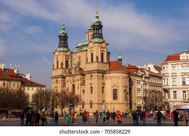 Czech Republic, Prague - 13 March 2017: The Church Of St. Nicholas on the Old Town square