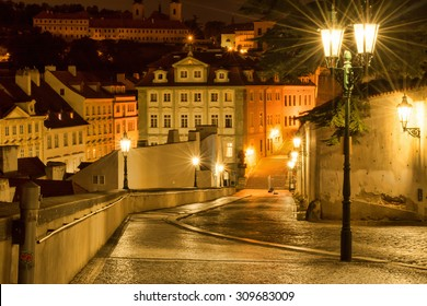 Czech Republic, Prague. 20 August 2015. The street in Prague, in the light of lanterns. The capital of the Czech Republic; the administrative center of the Central Bohemia Region.