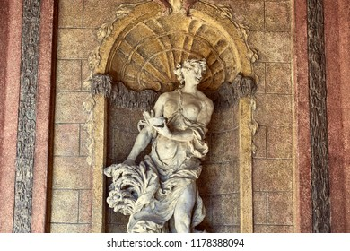 CZECH REPUBLIC, PRAGUE - 26 JUNE 2018: marble female statue in old historical building