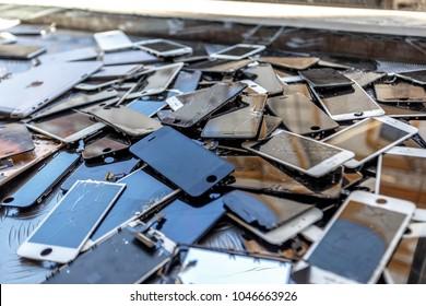 Czech Republic, Prague, 26.02.2018 - Lots of broken smartphone screens.