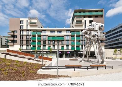 CZECH REPUBLIC, PRAGUE - APR 30, 2017: Czech Photo Center, kinetic sculpture Trifot by sculptor David Cerny, Nove Butovice district, Prague, Czech republic