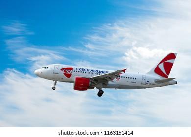 CZECH REPUBLIC, PRAGUE - AUG 21 2018: Airbus A319, Czech airlines ČSA, Vaclav Havel International Airport, Ruzyne, Prague, Czech republic