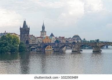 Czech republic Prague Charles bridge amazing view.
