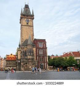 CZECH REPUBLIC, PRAGUE - CIRCA SEPTEMBER 2016:  Old Town Hall on Market Square in the center of Prague, Czech republic.