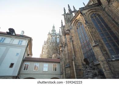CZECH REPUBLIC, PRAGUE - DECEMBER 31, 2016: Bridge that connect building and facade of Cathedral of Saint Vitus