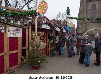 CZECH REPUBLIC, Prague, December 5, 2019: Traditional Christmas Market at Namesti Miru square with stalls selling homemade gifts, food,decorations and toys. People shopping and having a good time