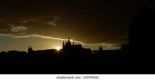 Czech Republic, Prague. Hradcany Castle. View after sunset, outline and shadow of castle.