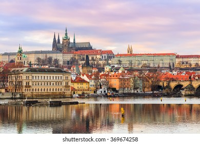 Czech Republic, Prague, January 21, 2016: Prague Castle (Prazsky hrad) is a castle complex dating from the 9th century and the official residence of the President of the Czech Republic.