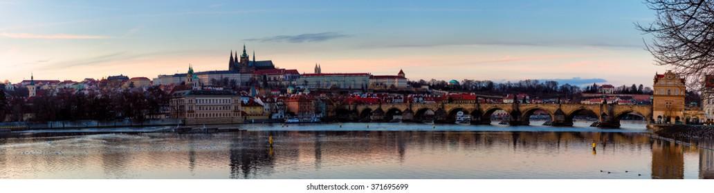 Czech Republic, Prague, January 28, 2016: Panoramic view of Prague castle (Czech: Prazsky hrad) and Charles Bridge (Czech: Karluv Most), Prague, Czech Republic