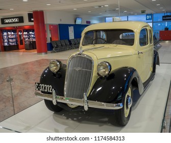 Czech republic, Prague, June 23, 2018: Skoda Rapid type 901 dipslayed on Prague airport, mid-size car that was made in Czechoslovakia by Skoda from 1935 to 1947. Black and yellow color