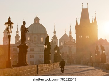 CZECH REPUBLIC, PRAGUE - MARCH 3, 2012: Charles bridge, Old Town bridge tower, Prague (UNESCO), Czech republic, Europe - sunrise over the Old town