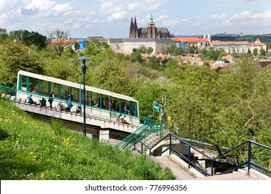 CZECH REPUBLIC, PRAGUE - MAY 4, 2016: Prague castle with st. Vitus cathedral, Petrin hill funicular tram, Lesser Town, Prague (UNESCO), Czech republic - Nebozizek train station