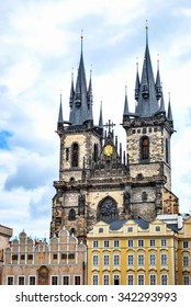 Czech Republic, Prague. May 9, 2014. The Tyn Church. Located on the Old Town Square in Prague, the main parish church district Nove Mesto.