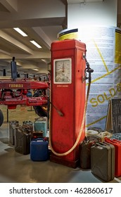 Czech Republic. Prague. National Technical Museum. Converted gas station with gasoline. June 11, 2016