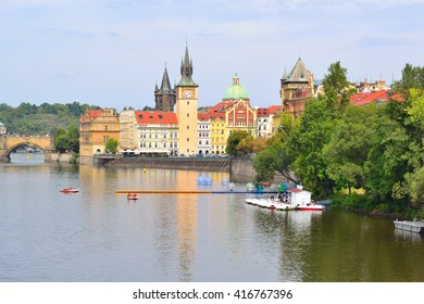 Czech Republic. Prague Old Town and the Vltava  river in a cloudy summer day