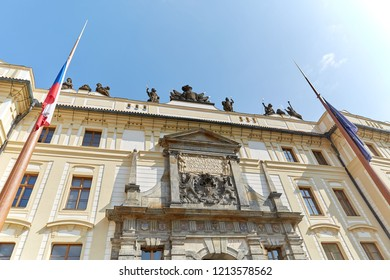 CZECH REPUBLIC, PRAGUE - SEPTEMBER 13, 2016: View from the bottom of the office building with the flags of the European Union and the Czech Republic in Prague, the Czech Republic.