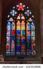 CZECH REPUBLIC, PRAGUE - SEPTEMBER 13, 2016: Bright colorful patterns on a stained-glass window in a church in Prague. Czech Republic.