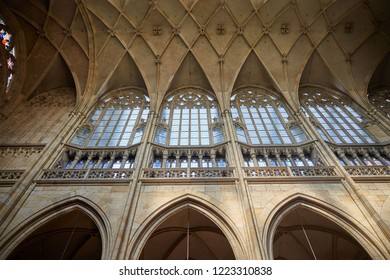 CZECH REPUBLIC, PRAGUE - SEPTEMBER 13, 2016: Arched ceiling above the large windows in the interior of the Gothic church in Prague, the Czech Republic.
