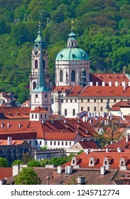 Czech Republic Prague - St. Nicolas Church and Rooftops of Lesser Quarter