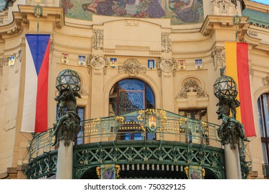 Czech Republic, Prague. Vintage building. Stained glass of  Alfons Maria Mucha